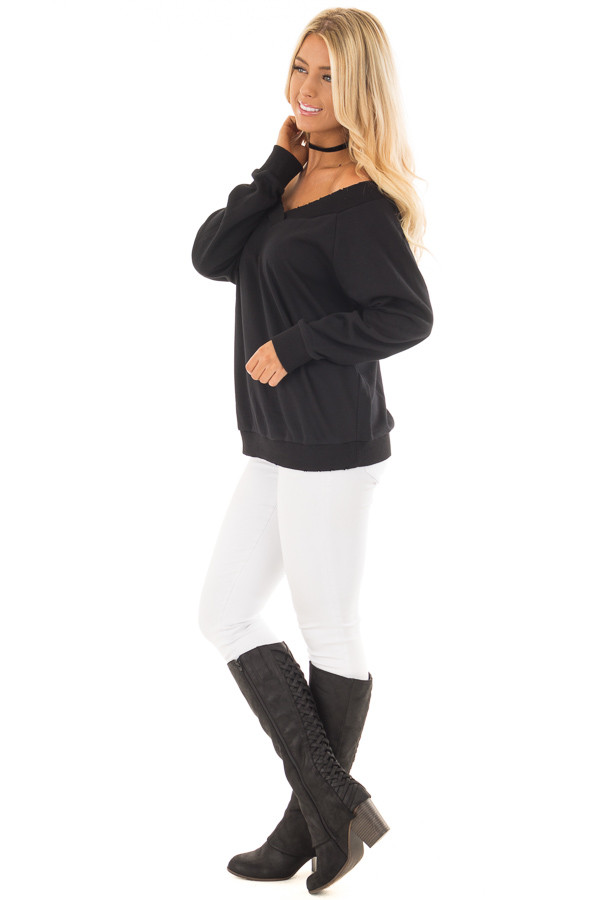 Black Off the Shoulder Lightly Distressed Sweater side full body