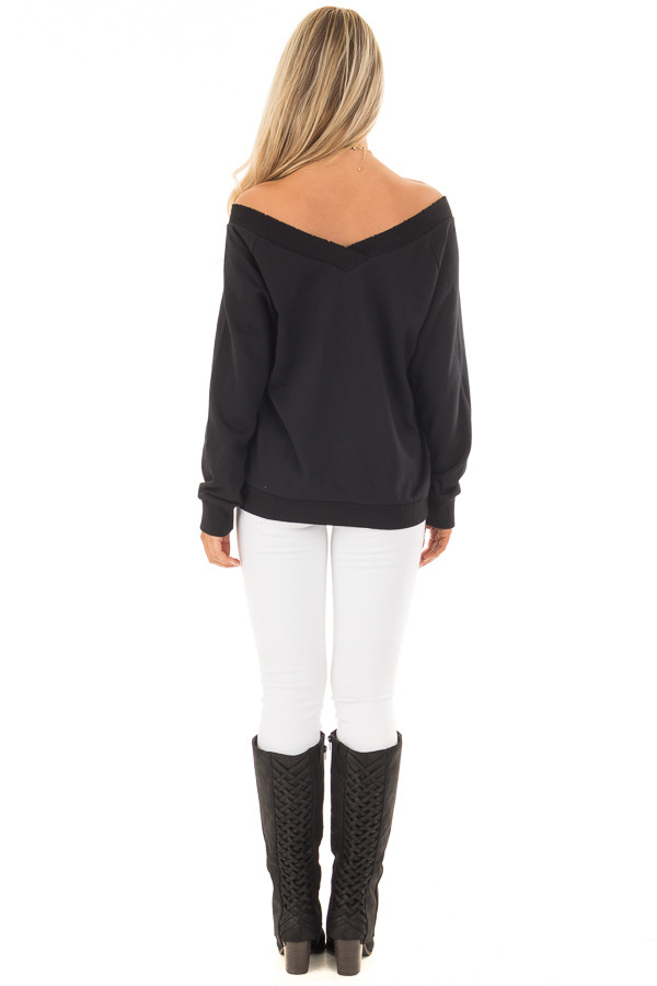 Black Off the Shoulder Lightly Distressed Sweater back full body