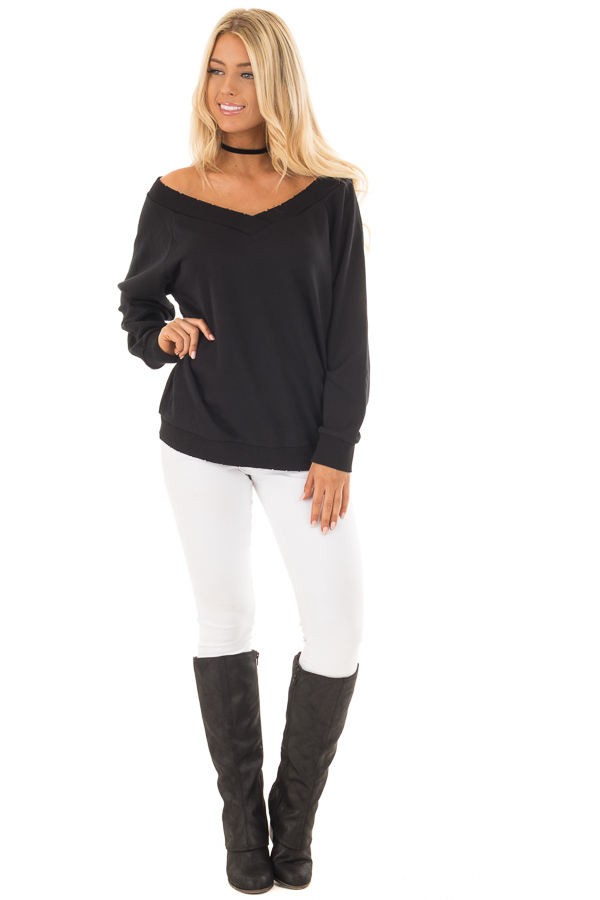 Black Off the Shoulder Lightly Distressed Sweater front full body