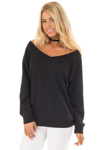 Black Off the Shoulder Lightly Distressed Sweater front close up