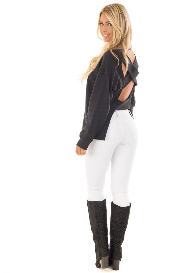 Black Open Back Sweater with Criss Cross Bands back side full body