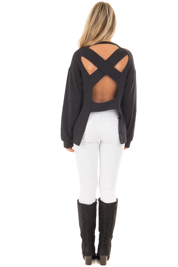 Black Open Back Sweater with Criss Cross Bands back full body