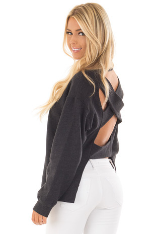 Black Open Back Sweater with Criss Cross Bands back side close up