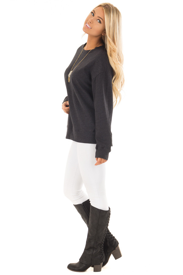 Black Open Back Sweater with Criss Cross Bands side full body