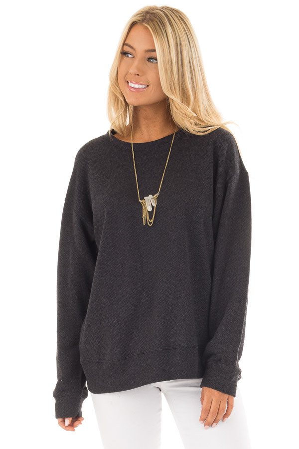 Black Open Back Sweater with Criss Cross Bands front close up