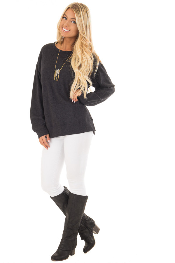 Black Open Back Sweater with Criss Cross Bands front full body