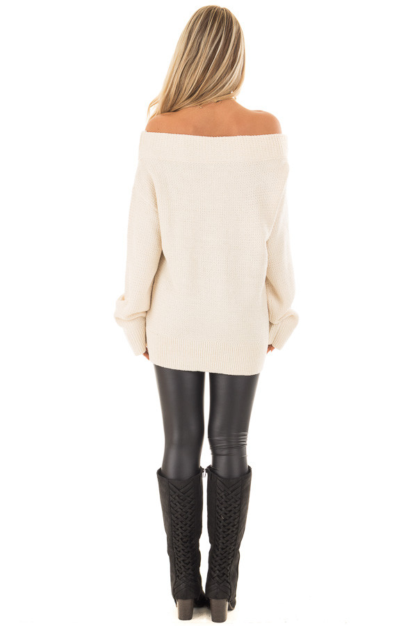 Cream Knit Off the Shoulder Long Sleeve Sweater back full body