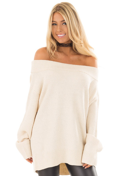 Cream Knit Off the Shoulder Long Sleeve Sweater front close up