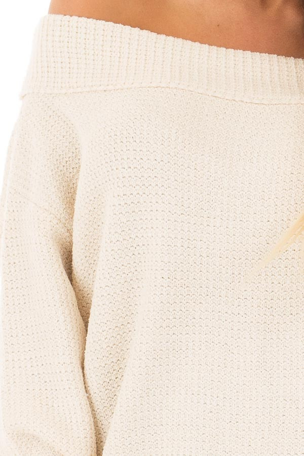 Cream Knit Off the Shoulder Long Sleeve Sweater detail