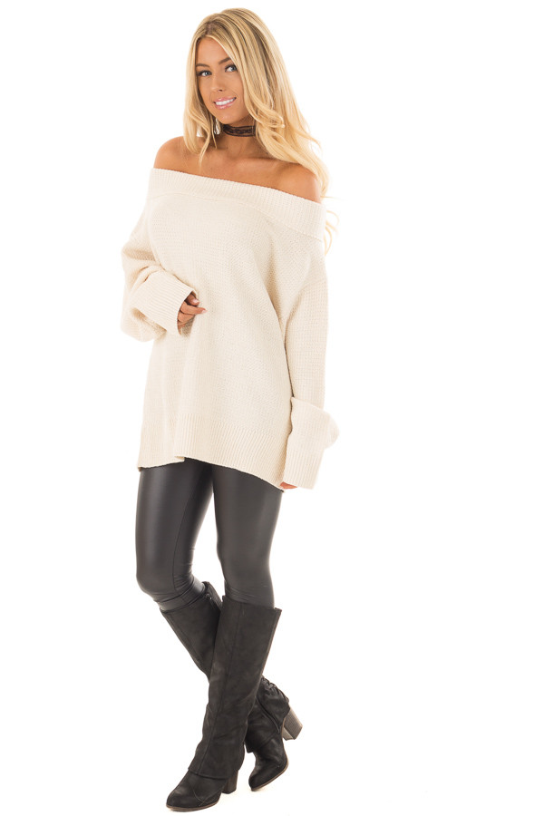 Cream Knit Off the Shoulder Long Sleeve Sweater front full body