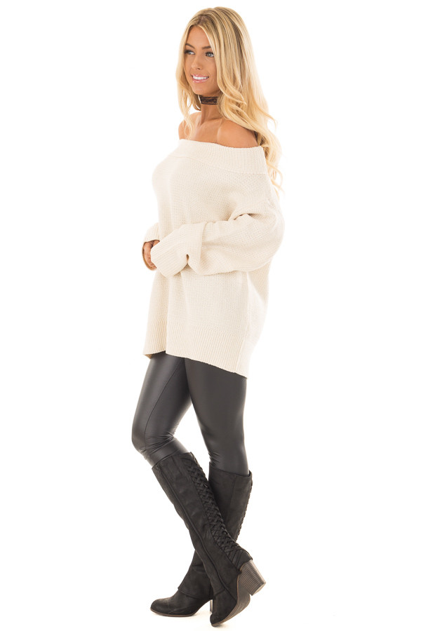 Cream Knit Off the Shoulder Long Sleeve Sweater side full body