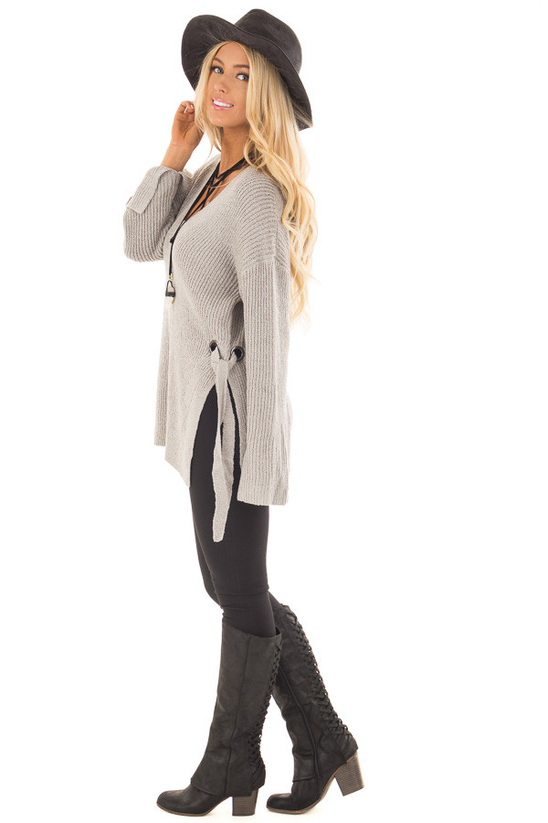 Cement Grey V Neck Sweater with Key Hole Back and Side Ties side full body