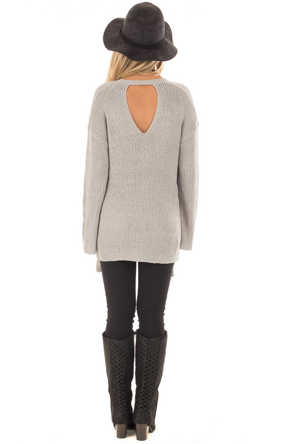 Cement Grey V Neck Sweater with Key Hole Back and Side Ties back full body