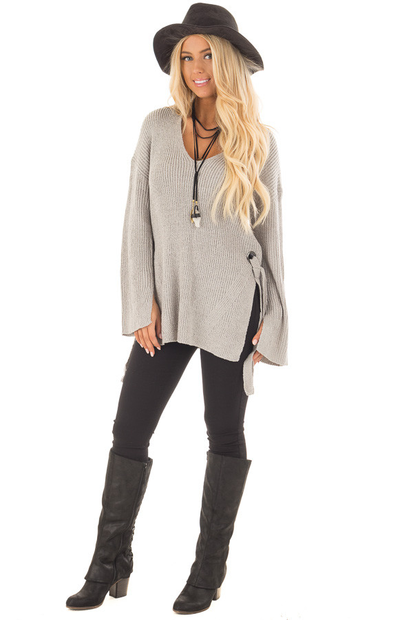 Cement Grey V Neck Sweater with Key Hole Back and Side Ties front full body