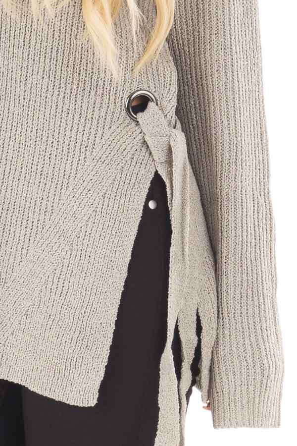 Cement Grey V Neck Sweater with Key Hole Back and Side Ties detail