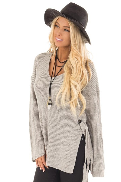 Cement Grey V Neck Sweater with Key Hole Back and Side Ties front close up
