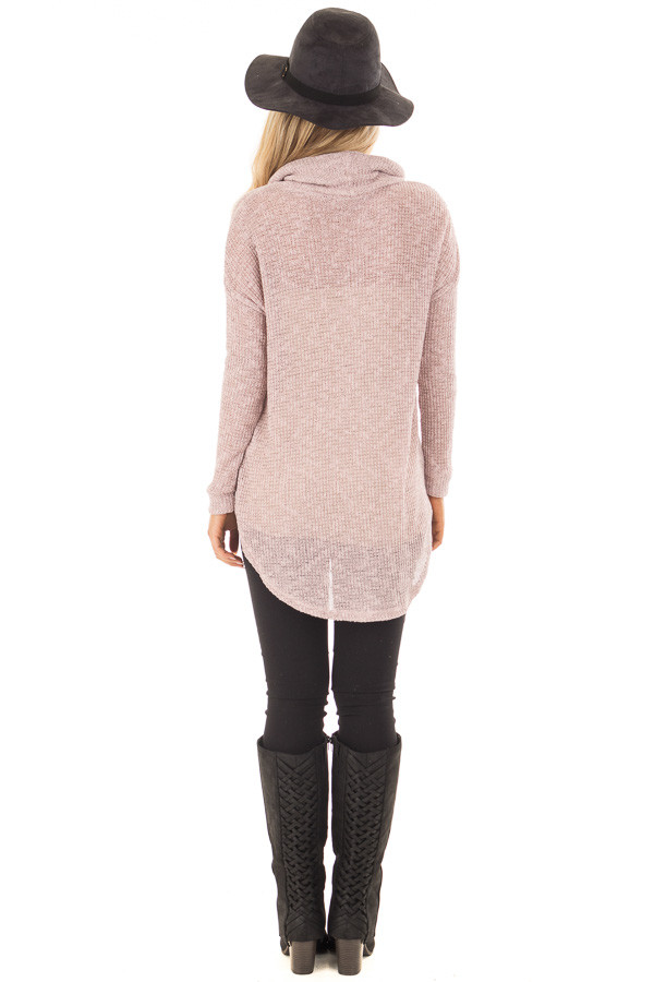 Light Mauve Two Tone Cowl Neck Lightweight Sweater back full body