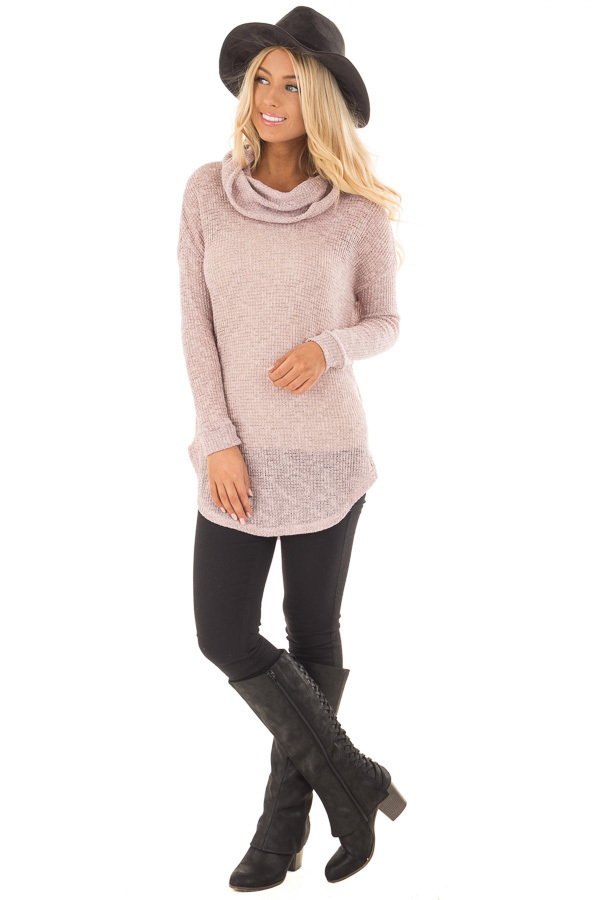Light Mauve Two Tone Cowl Neck Lightweight Sweater front full body
