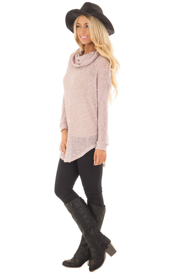 Light Mauve Two Tone Cowl Neck Lightweight Sweater side full body