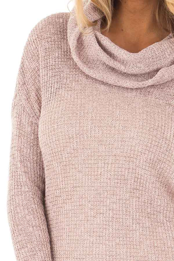 Light Mauve Two Tone Cowl Neck Lightweight Sweater detail