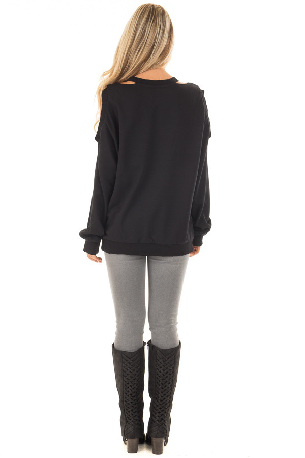 Black Sweater with Cut Out Neckline and Cold Shoulders back full body