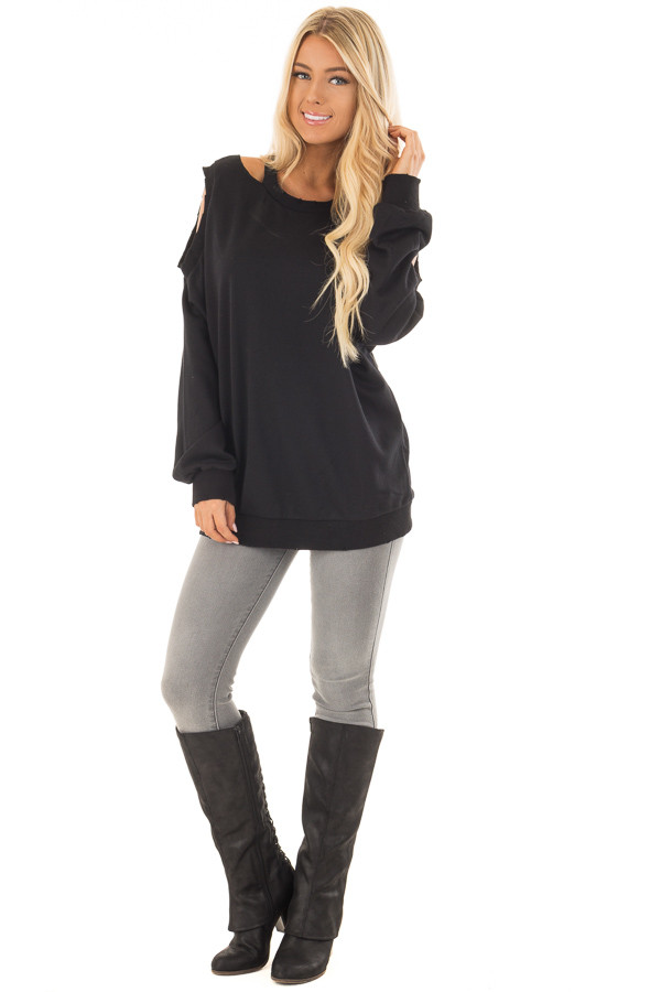 Black Sweater with Cut Out Neckline and Cold Shoulders front full body