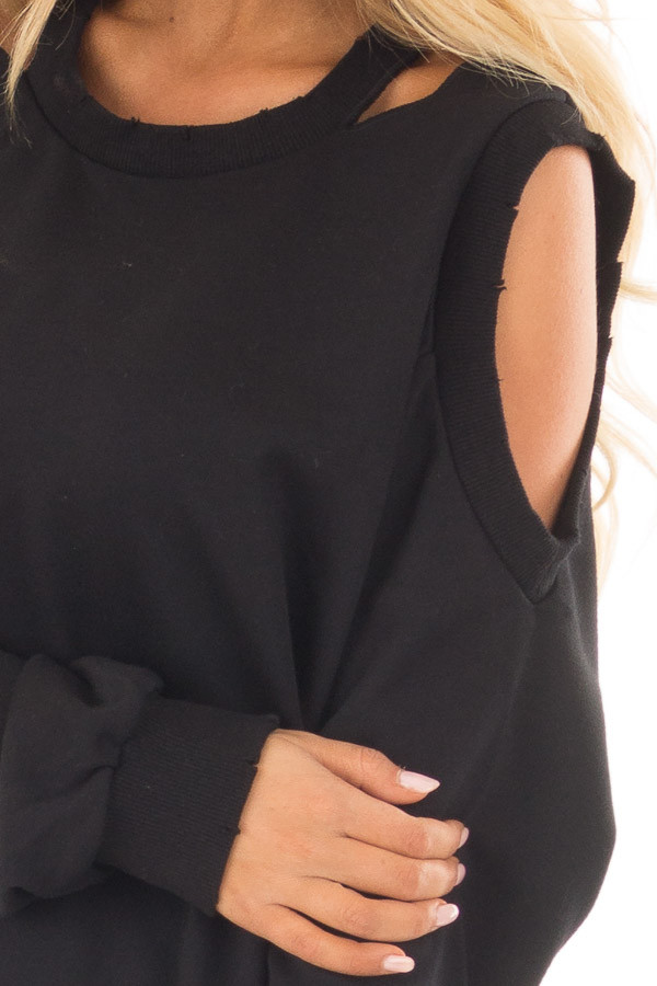 Black Sweater with Cut Out Neckline and Cold Shoulders detail
