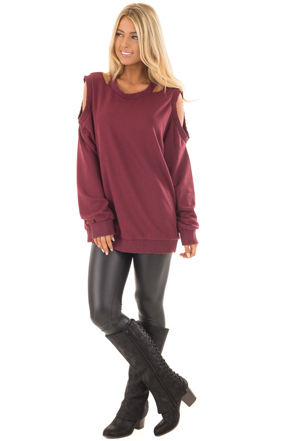 Burgundy Sweater with Cut Out Neckline and Cold Shoulders front full body
