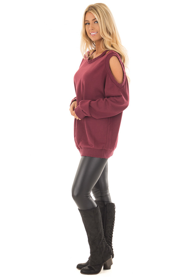 Burgundy Sweater with Cut Out Neckline and Cold Shoulders side full body