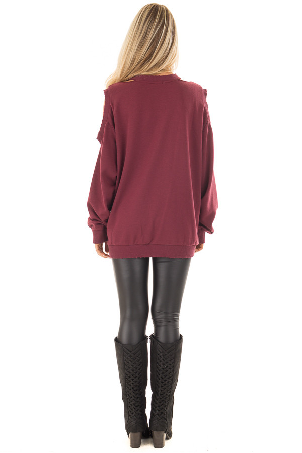 Burgundy Sweater with Cut Out Neckline and Cold Shoulders back full body