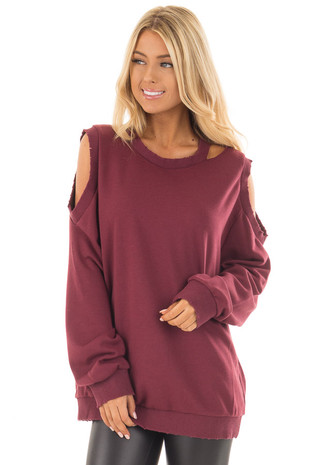 Burgundy Sweater with Cut Out Neckline and Cold Shoulders front close up
