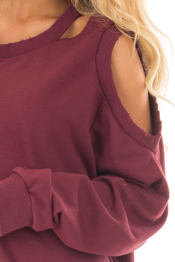 Burgundy Sweater with Cut Out Neckline and Cold Shoulders detail