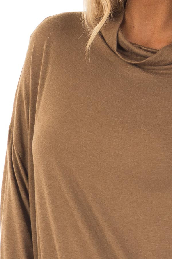 Dusty Olive Mock Neck Long Sleeve Top detail