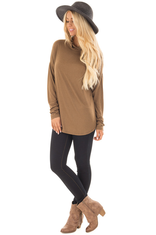 Dusty Olive Mock Neck Long Sleeve Top front full body