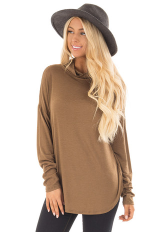 Dusty Olive Mock Neck Long Sleeve Top front close up