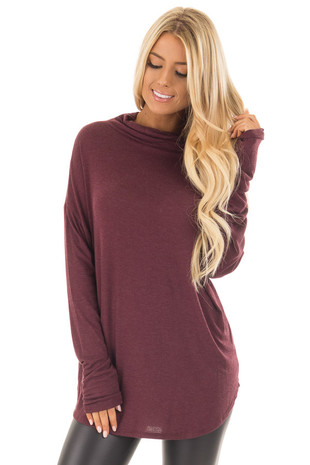 Wine Mock Neck Long Sleeve Top front close up