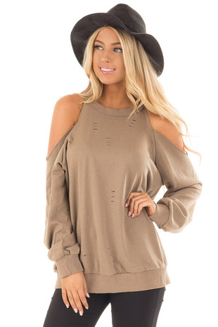 Taupe Distressed Cold Shoulder Sweater front close up
