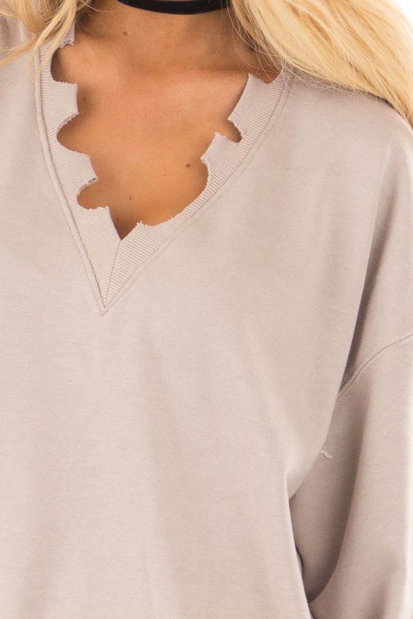 Light Taupe V Neck Sweater with Distressed Details detail