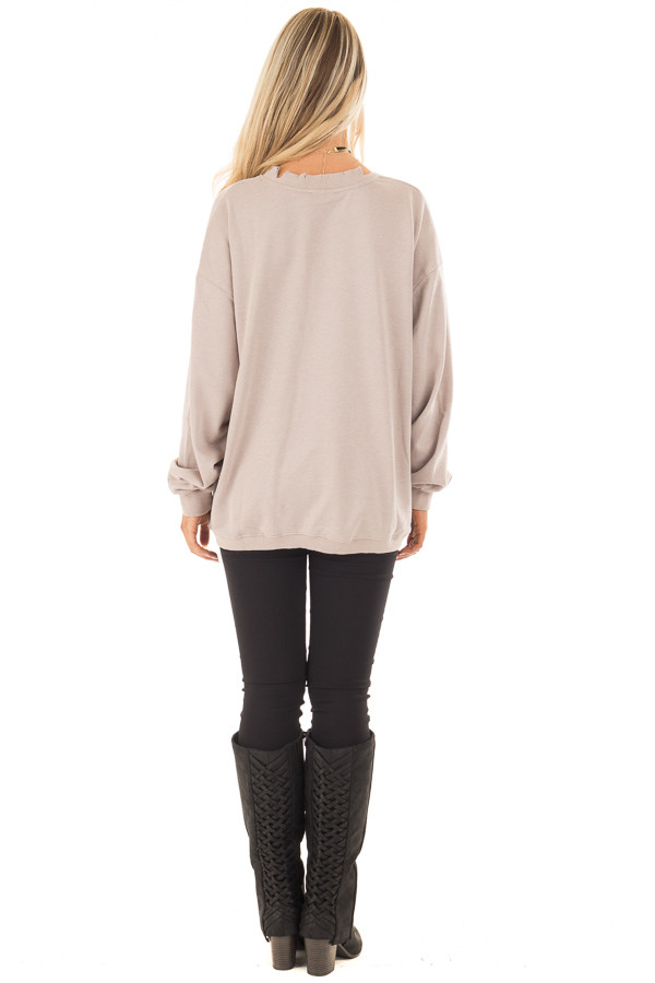 Light Taupe V Neck Sweater with Distressed Details back full body