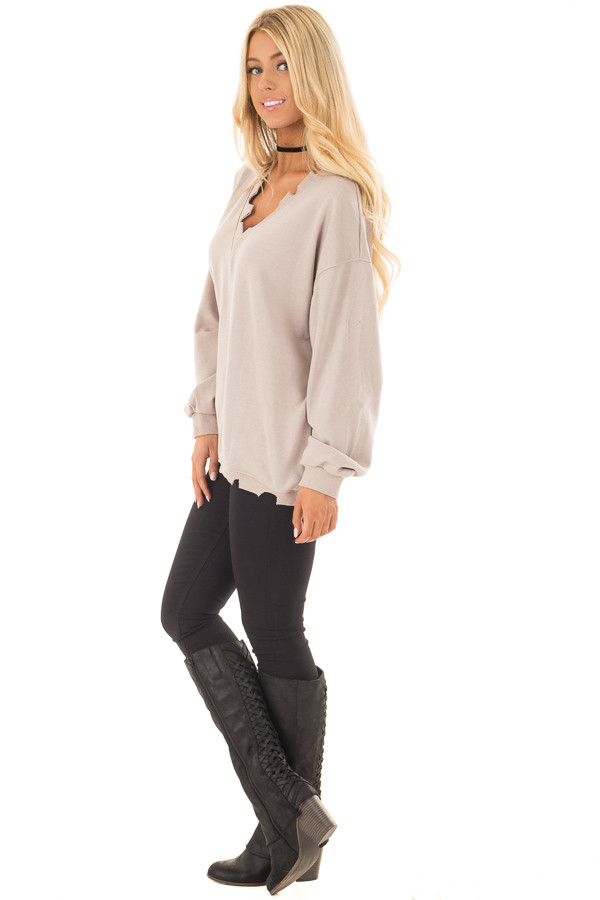 Light Taupe V Neck Sweater with Distressed Details side full body