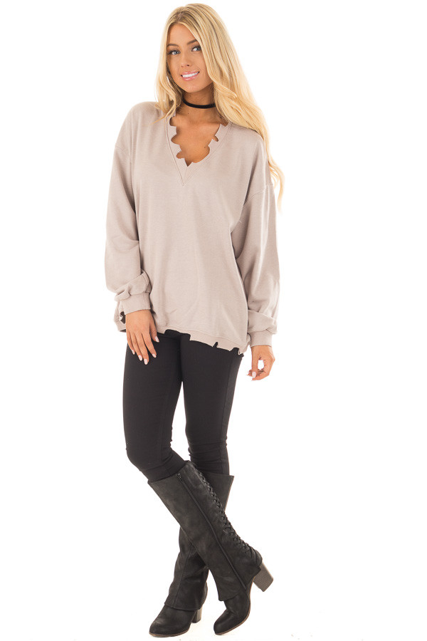 Light Taupe V Neck Sweater with Distressed Details front full body