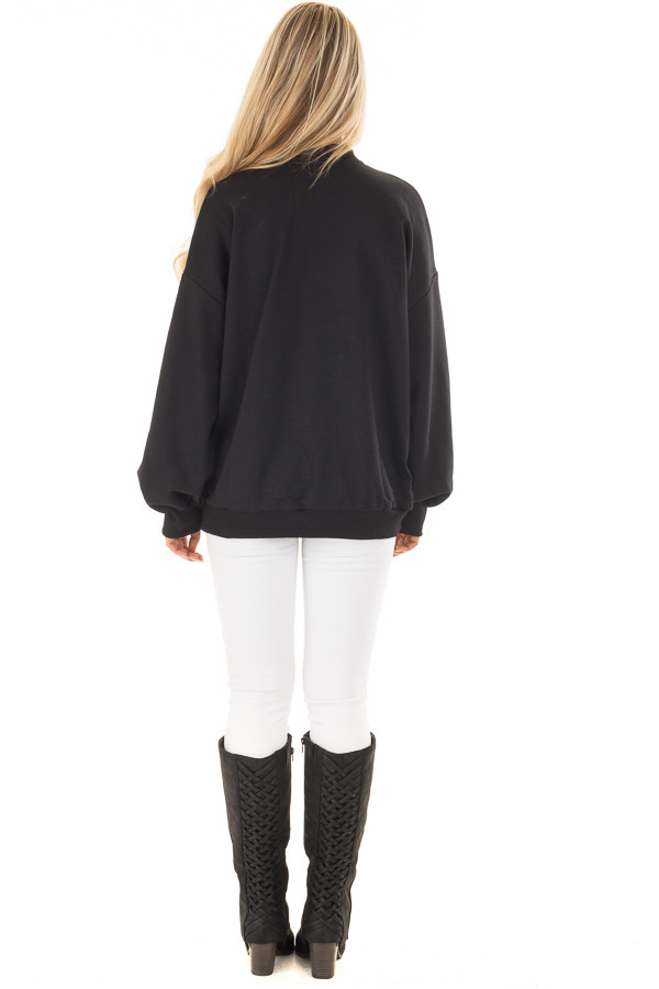 Black Oversized Sweater with Deep V Neck and Choker Band back full body