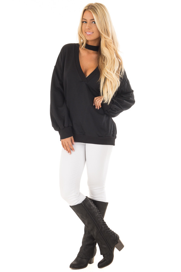 Black Oversized Sweater with Deep V Neck and Choker Band front full body
