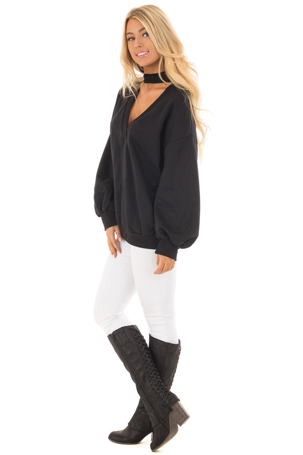 Black Oversized Sweater with Deep V Neck and Choker Band side full body