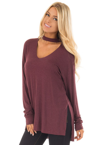 Wine Jersey Knit Top with Cut Out V Neckline front close up