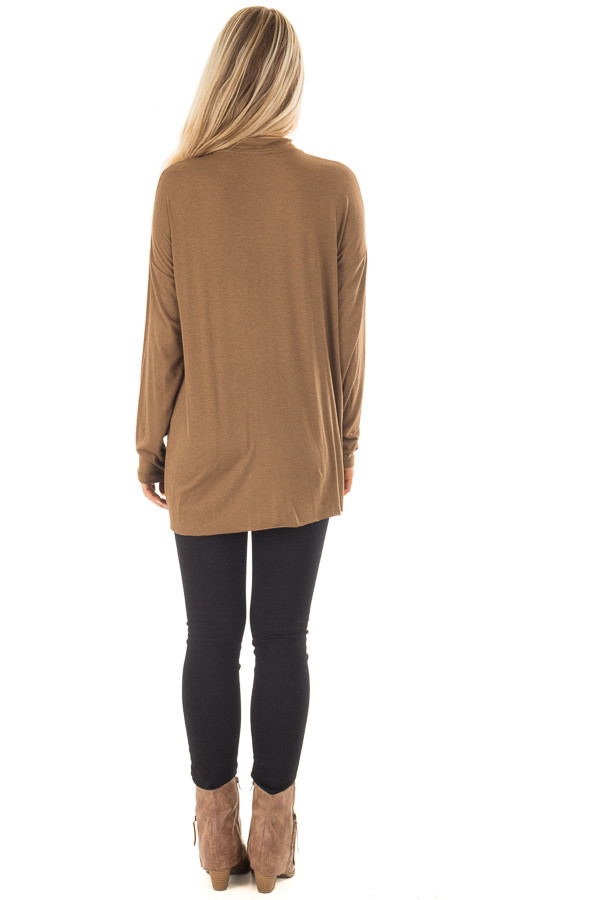 Dusty Olive Jersey Knit Top with Cut Out V Neckline back full body