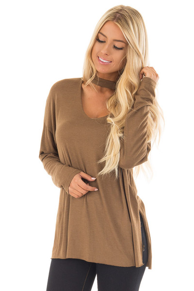 Dusty Olive Jersey Knit Top with Cut Out V Neckline front close up