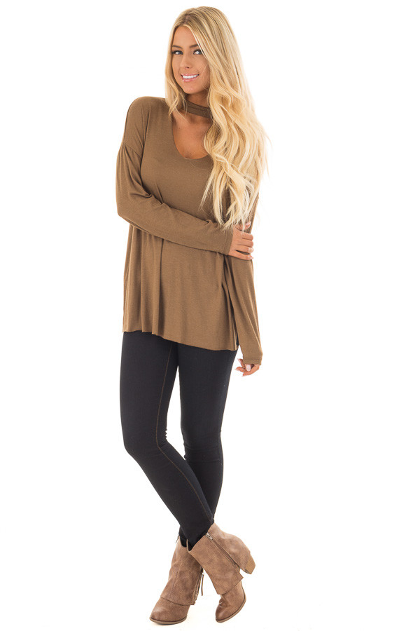 Dusty Olive Jersey Knit Top with Cut Out V Neckline front full body