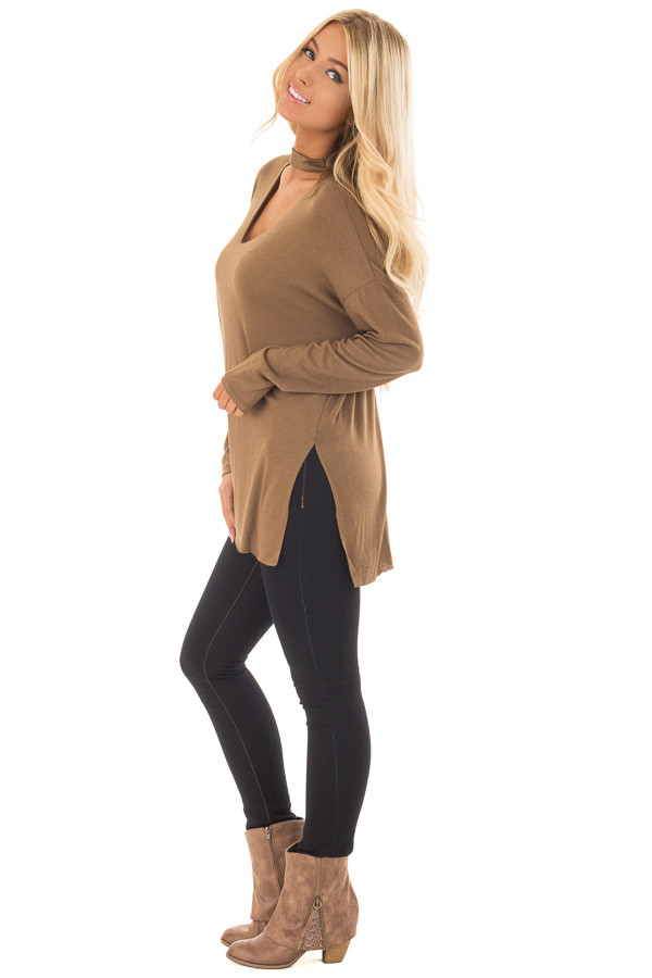 Dusty Olive Jersey Knit Top with Cut Out V Neckline side full body