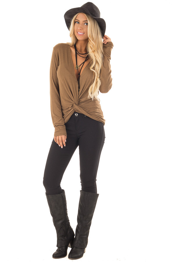 Dusty Olive Deep V Neck Top with Front Twist Detail front full body